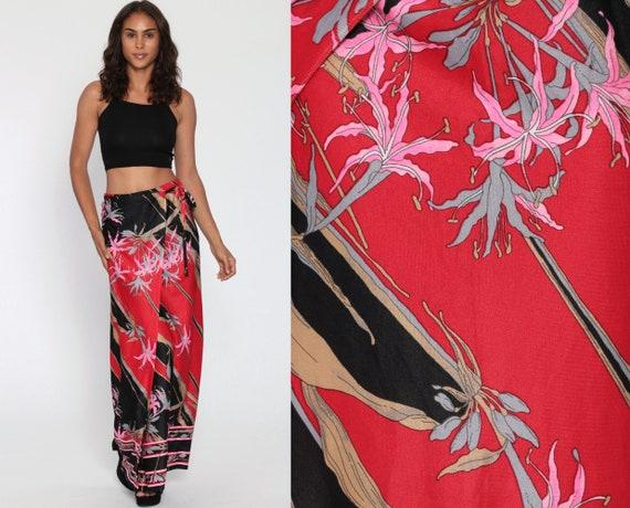 Maxi Wrap Skirt Bohemian Skirt 70s FLORAL Print High Waisted Red Hippie Black 1970s Boho Vintage Retro Flower Power Print Small Medium Large