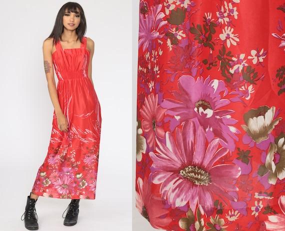 Maxi Sundress 70s Bohemian Smocked Red Dress Boho Dress Vintage Hippie 1970s Festival Spaghetti Strap Beach Vacation Extra Small xs
