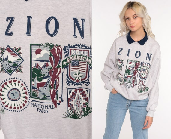 Zion National Park Sweatshirt 90s Grey Graphic Vintage Retro Pullover Slouchy 1990s Medium