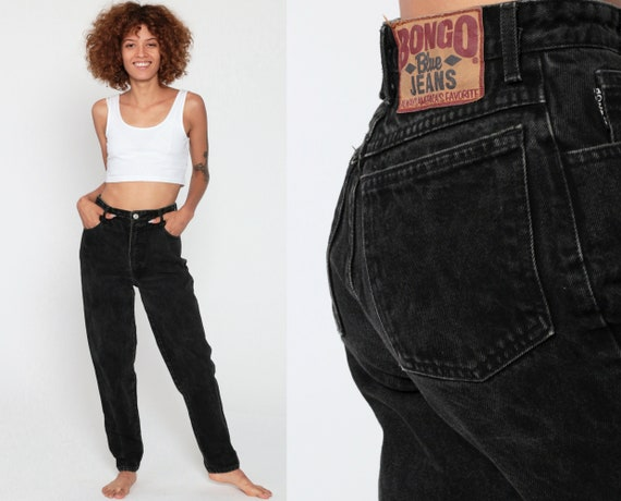 Black Mom Jeans BONGO Jeans High Waist Jeans 80s Skinny High Waisted Denim Pants 90s Vintage Tapered Extra Small xs 25