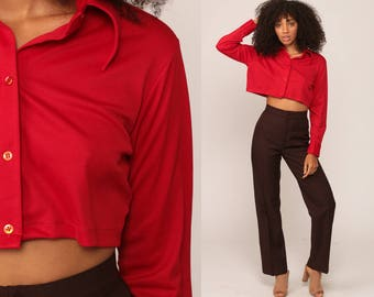 Red Crop Top 70s Shirt Plain Blouse Collared Button Up Red 1970s Long Sleeve Retro Vintage Cropped Shirt Small Medium