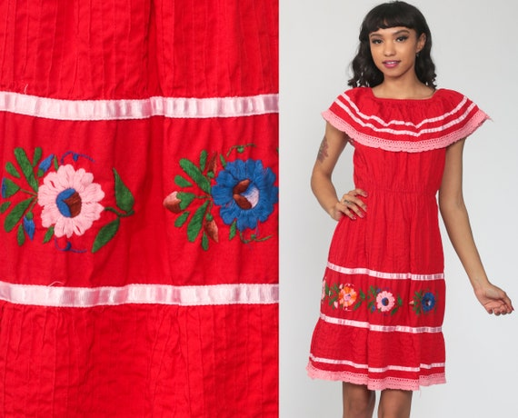 Red Bohemian Dress Midi OFF SHOULDER Dress Mexican Embroidered Boho Dress Peasant Summer Lace Hippie High Waist Vintage Extra Small xs s