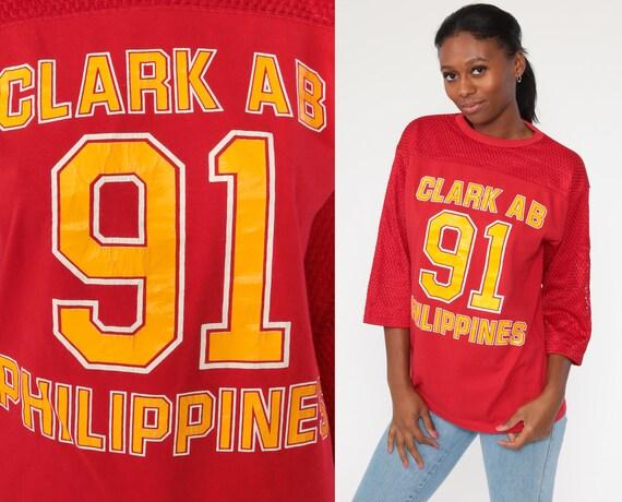 Clark Air Base Shirt 1991 Philippines Shirt Football Jersey AB Red Mesh Air Force Shirt Vintage 90s Tshirt Throwback Sports Medium Large