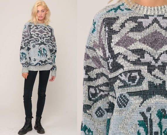 Knit Sweater 80s Slouchy Retro GEOMETRIC Print Grey Pullover Grunge 90s Vintage Retro Sweater Extra Large xl