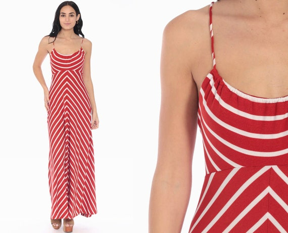 70s Maxi Dress CHEVRON Stripe Sundress Criss Cross Boho Gown 1970s Red White Disco Empire Waist Hippie Bohemian Sun Vintage Extra Small xs