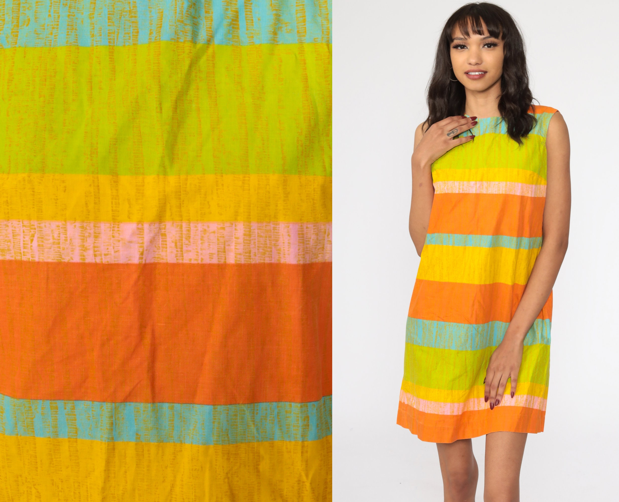 60s Mod Dress MINI Striped Orange Checkered Print 1960s Shift Vintage Twiggy Sleeveless Sixties Bright Gogo Minidress Medium