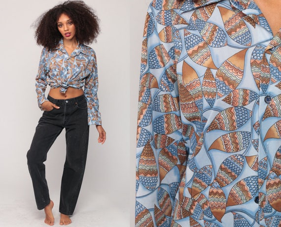 70s Blouse Boho Disco Shirt Vine Leaf Print Button Up Top 1970s Hippie Vintage Hipster Long Sleeve Bohemian Blue Brown Medium Large