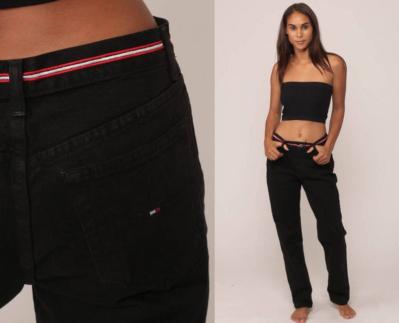 6498a30b Tommy Jeans Black Mom Jeans TOMMY HILFIGER Denim Pants 90s | Etsy