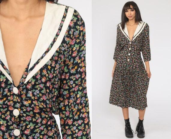 Floral V Neck Dress 90s Black Floral Dress Deep Plunging Neckline Button Up Boho Midi 80s 1990s High Waist Bohemian 3/4 Sleeve Large