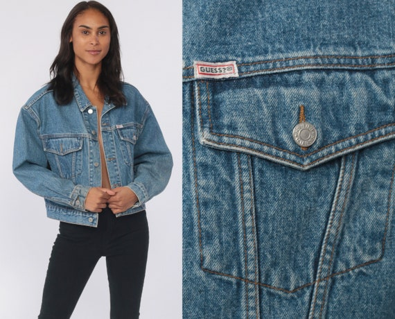 GUESS Jean Jacket USA 90s Denim Jacket Georges Marciano Vintage Jacket Trucker Grunge Biker Blue Button Up 1990s Coat Women's Large