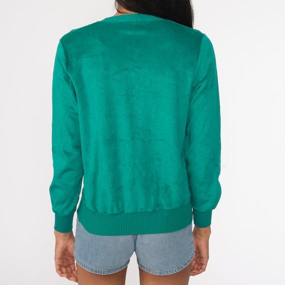 Green Velour Sweater Retro Sweatshirt V NECK Long… - image 6