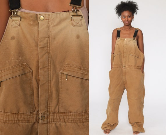 Tan INSULATED Overalls Distressed Coveralls Workwear Brown Baggy Bib Pants Work Wear Long Cargo Vintage Dungarees Extra Large xl xxl