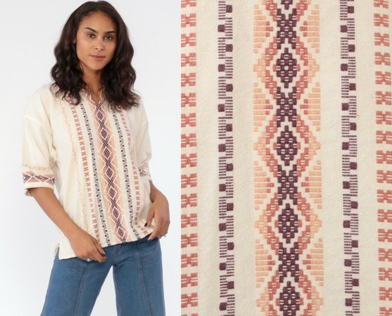 Hippie Shirt Embroidered Top Aztec Guatemalan Blouse Beige Brown Tunic Shirt Tribal Bohemian Vintage Boho Ethnic Vintage Extra Small XS