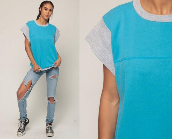 Short Sleeve Sweatshirt Ringer Tee 80s Plain Grunge Turquoise Blue Shirt Slouchy Sweatshirt 1980s Top Vintage Normcore Extra Large xl
