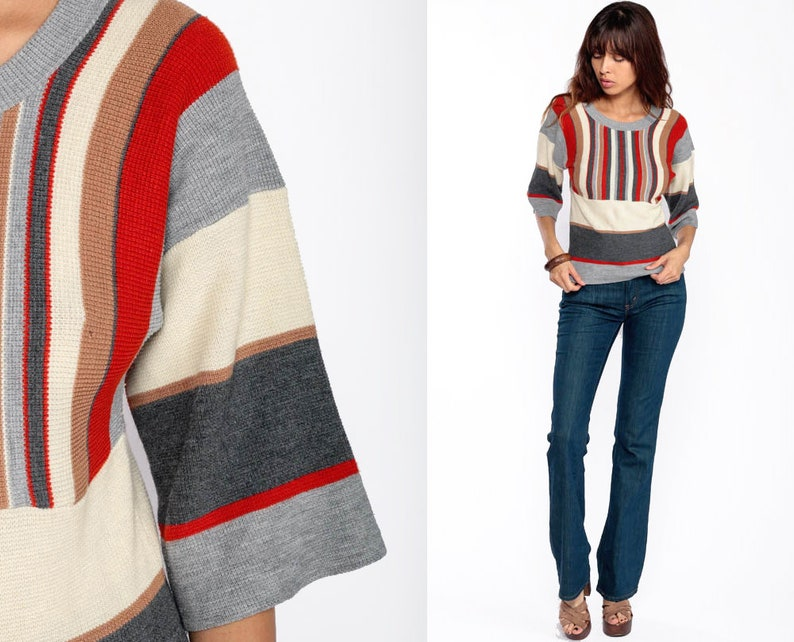 1b41ad641156 70s Sweater STRIPED Knit Boho Pullover Hipster Bohemian