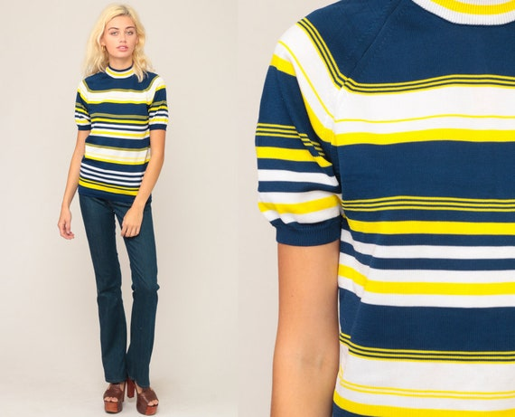Striped Shirt 70s Knit Top Boho Short Sleeve Sweater Top Blue Yellow High Neck Sweater Top Bohemian Retro Tee Vintage 1970s Medium Large