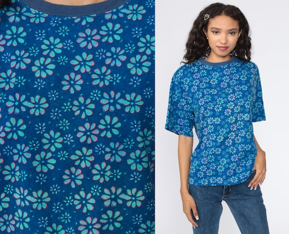 90s Floral Shirt Ringer Tee Blue Flower Shirt Retro TShirt Vintage T Shirt 90s Tee Graphic Print 1990s Medium