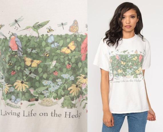 Garden Animal Shirt 90s Pun Shirt Living Life on The Hedge Insect Frog Bug T Shirt Butterfly T Shirt Snail Bird Shirt 1990s Small Medium
