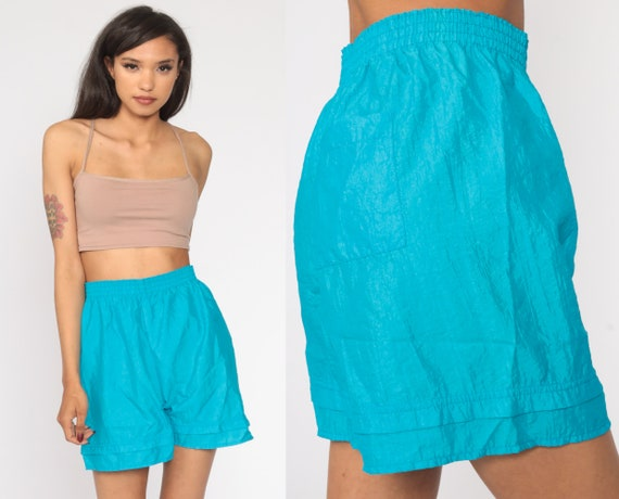 90s Shorts Thin Turquoise Blue Jogging Shorts 90s Running High Waisted Retro Nylon Shorts Gym Vintage 1990s Elastic Waist Small Medium