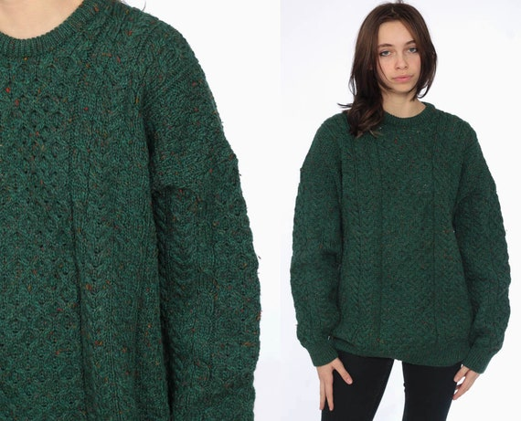 80s Cable Knit Sweater -- 1980s WOOL Knit Grunge Slouchy Dark Green Sweater Chunky Knit Pullover Cableknit Jumper Vintage Medium Large