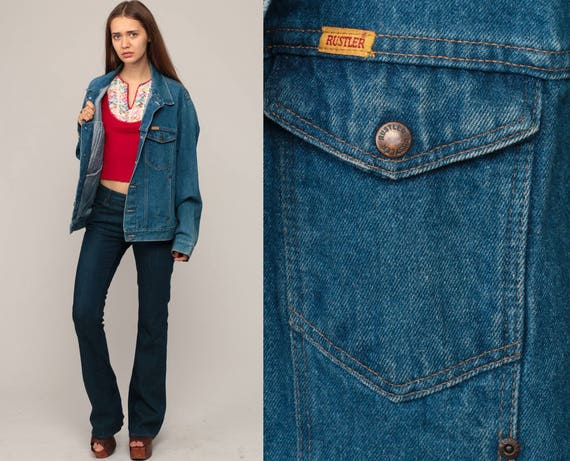 80s Jean Jacket Denim Jacket RUSTLER Blue Stone Wash Trucker 1980s Vintage Biker Oversized Button Up Hipster Extra Large xl