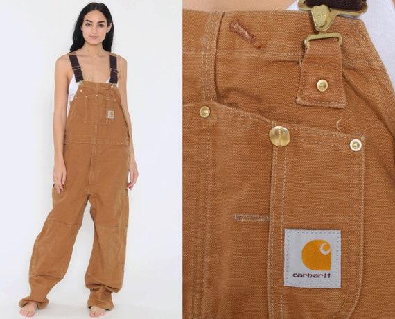 Men's Carhartt Overalls Workwear Coveralls Baggy Pants Cargo Work Dungarees Light Brown Workwear Long Wide Leg Jeans Bib Vintage Large