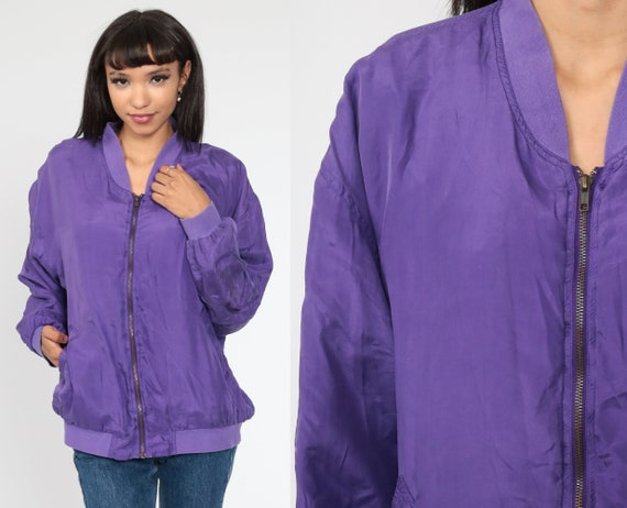90s Silk Windbreaker Jacket -- Purple Bomber Jacket Sportswear Warm Up Jacket Zip Up Jacket 1990s Oversized Medium