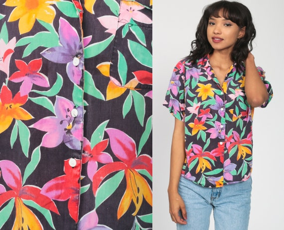 Tropical Floral Shirt Bright Hawaiian Blouse Button Up 80s Vintage Surfer Vacation Short Sleeve Leaf Print Retro Top 90s Medium