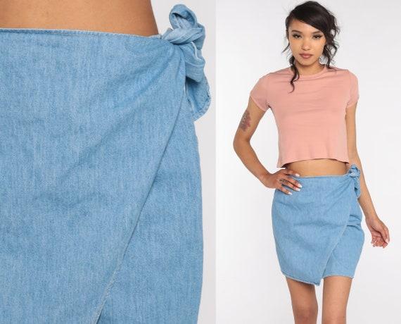 Denim Mini Skirt Wrap Jean Skirt 90s Georges Marciano High Waisted Skirt Boho Retro Vintage Small Medium