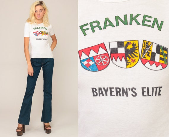 Germany Shirt FRANKEN, BAYERN'S ELITE Retro TShirt Deutschland German Shirt Vintage T Shirt Graphic Print 80s Travel Tee Extra Small xs
