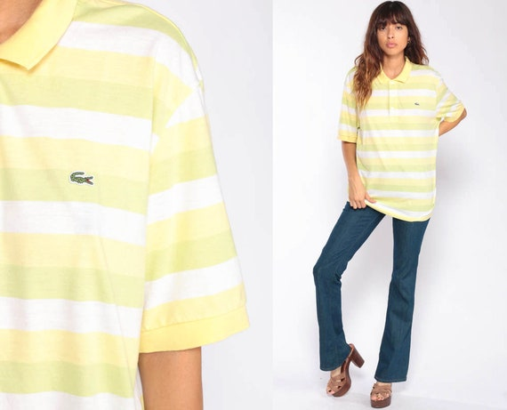 Lacoste Polo Shirt Striped Shirt 90s Top Izod CROCODILE Hipster Yellow 1990s Vintage Retro Preppy Extra Large xl