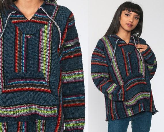 Neon Rainbow Hoodie Drug Rug Baja Mexican Sweatshirt Hippie Boho Hooded Ethnic Vintage Blanket Stripe Bohemian Kangaroo Large