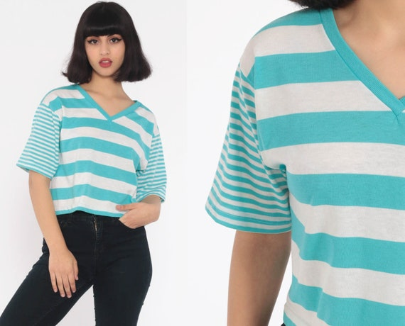 Blue Striped TShirt -- 80s T Shirt V Neck Shirt Retro Tee Crop Top Vintage Ringer Tee Minimalist Normcore Short Sleeve Small