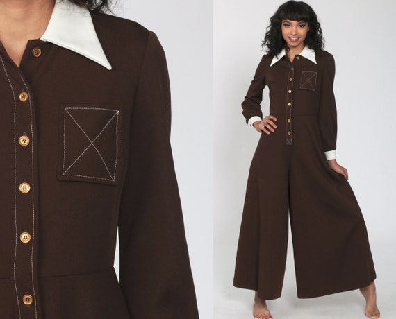70s Palazzo Jumpsuit Brown Bell Bottom Pants Wide Leg Boho 1970s Button Up Disco Hippie Bohemian One Piece Vintage Pantsuit Extra Small xs s