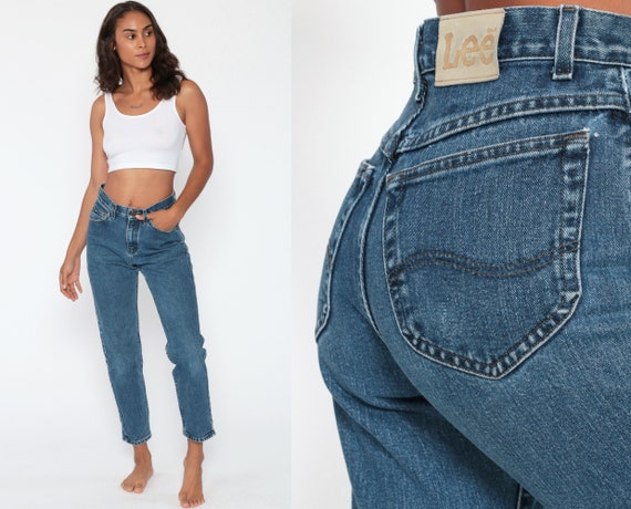 90s LEE Mom Jeans 1990s Blue Denim High Waisted Jeans Denim Pants 90s Slim Skinny Jeans High Waist Vintage Ankle Extra Small XS