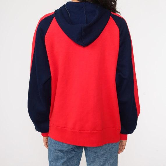 Hoodie Sweatshirt Red Zip Up Sweatshirt 80s Hoode… - image 7