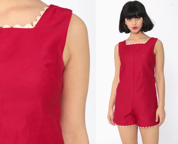 60s Mod Romper Cherry Red Playsuit 70s Romper Shorts 60s Mod Outfit One Piece 1970s Vintage 1960s Women Gogo Onesie Extra Small xs