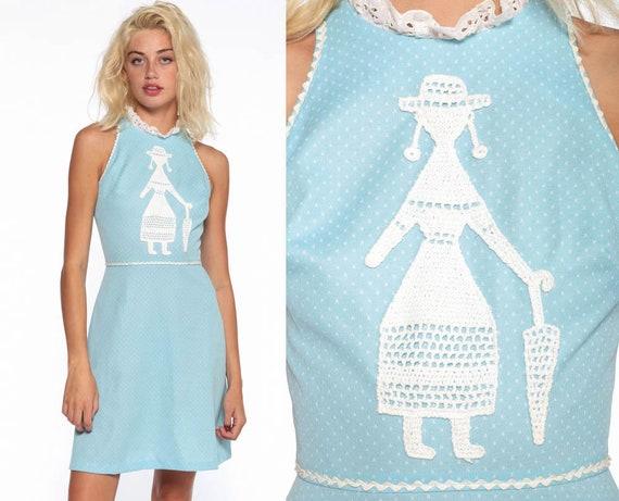 Baby Blue Racerback Dress 70s Crochet Woman Boho Mod Mini Dress 60s High Waist Hippie Vintage Sleeveless Bohemian 1970s Dolly Extra Small xs