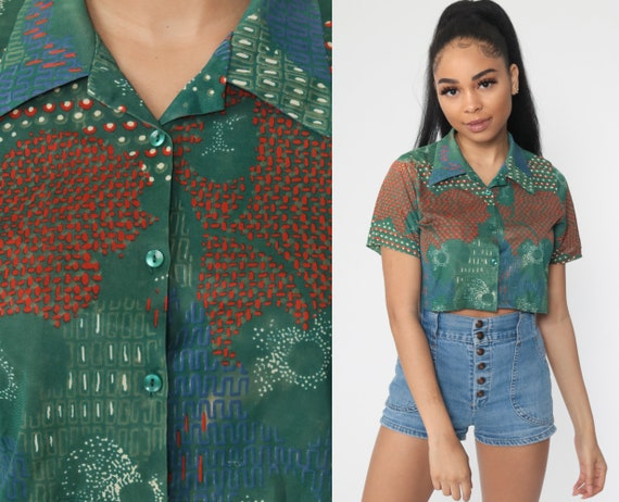 Cropped Blouse 70s Psychedelic Leaf Shirt Disco Top Bohemian Shirt 1970s Hippie Top Short Sleeve Button Up Green Small