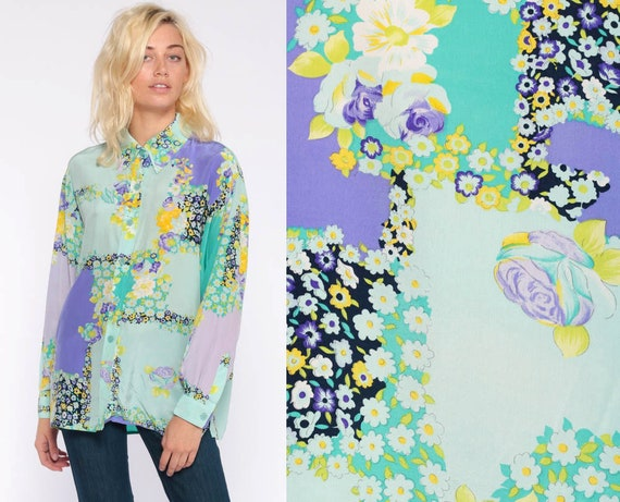 Silk Floral Shirt DVF Blouse -- 90s Button Up Shirt Blue Long Sleeve Top 1990s Vintage Purple Shirt Medium