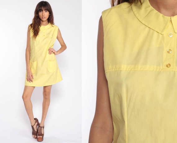 Peter Pan Dress 60s Mod Mini COLLAR Day Dress Yellow 1960s Shift Vintage Sixties Sleeveless Button Up Minidress Plain Large