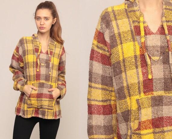 Drug Rug Hoodie Jacket Hooded Sweatshirt PLAID Pullover 90s Grunge Hippie Boho Vintage Blanket Bohemian Yellow 1990s Medium Large