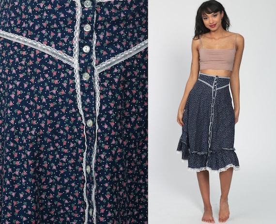 Gunne Sax Skirt Floral Skirt 70s Prairie Skirt Calico Midi Skirt Bohemian Button up 1970s Boho Hippie High Waist Blue Small s