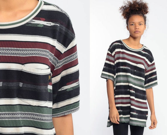 Tribal Bird Shirt Navy Blue Striped TShirt 90s T Shirt Grunge Aztec Tee 1990s Short Sleeve Oversized Large xl l