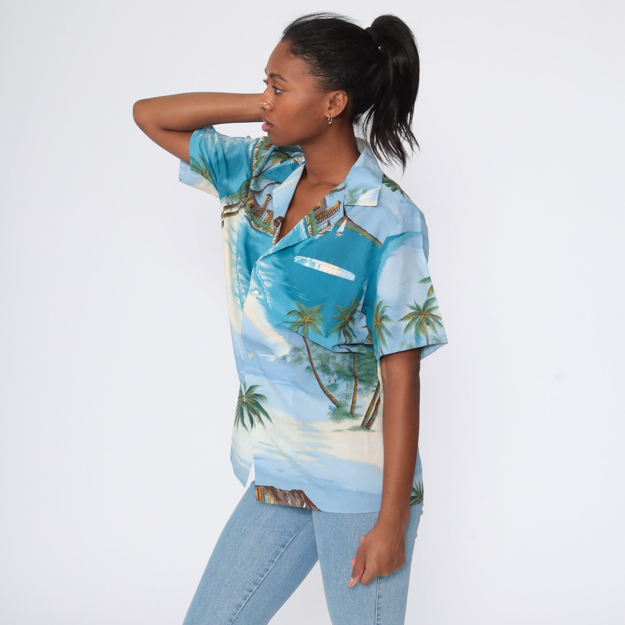 Hawaiian Shirt Tropical Shirt 80s PALM TREE Blouse SURFER Button Up Shirt Sailboat Print Top Beach Yacht Shirt Sea Ocean Blue Medium Large
