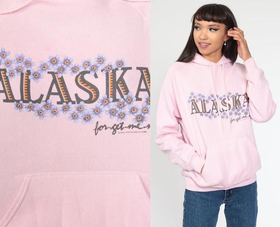 Alaska Hoodie Sweatshirt 90s Pink Floral Forget Me Not Hooded Sweatshirt Hood Graphic 1990s Sweatshirt Vintage