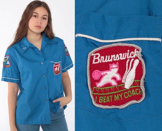 Bowling Uniform Shirt Brunswick Bowl Shirt 70s Bowling Patch Rockabilly Punk 1970s Button Up Blue Vintage Small Medium