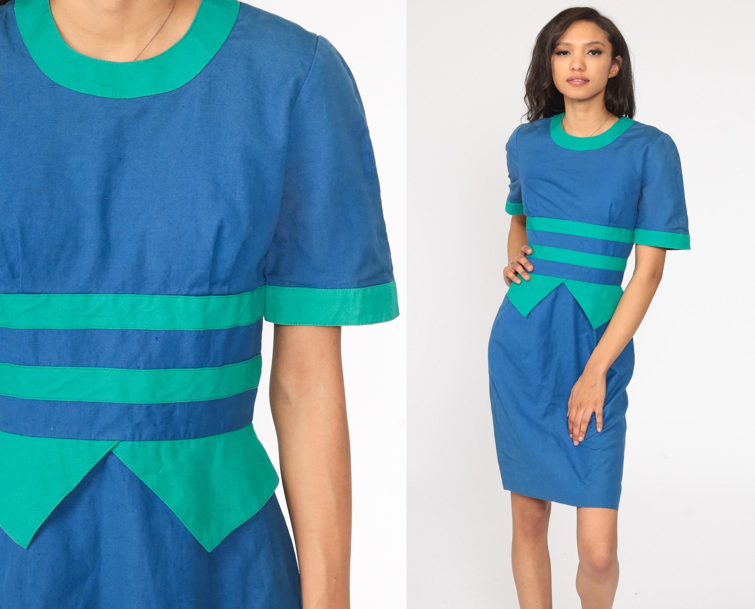 80s Dresses | Casual to Party Dresses Blue Striped Dress 80S Pencil Midi Secretary High Waist Peplum Green Wiggle 1980S Vintage Short Sleeve Small S $5.95 AT vintagedancer.com