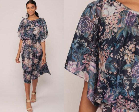 70s Boho Dress Floral Print Flutter Sleeve Midi 1970s Hippie Bohemian Summer High Waist Vintage Blue Medium Large