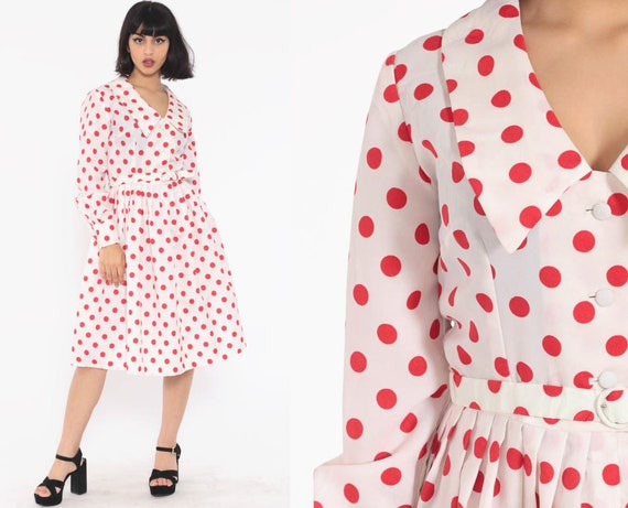 Red Polka Dot Dress 60s Pleated High Waisted Midi Belted 70s Button Up Party Mod Pin Up Rockabilly 1970s Vintage Long Sleeve Small